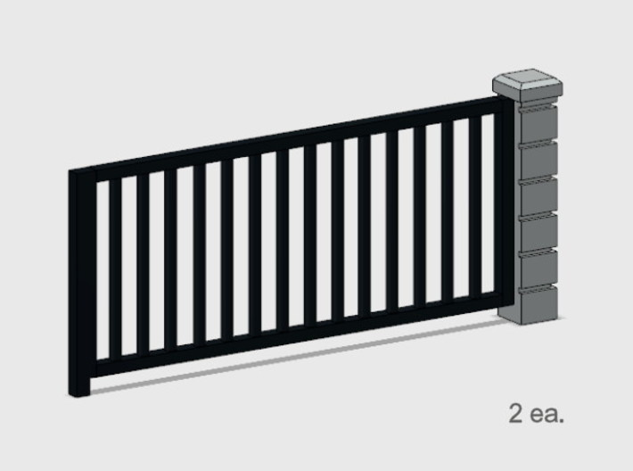 5 x 10 Rod Iron Fence Section - 2X. 3d printed Part # RIF-004