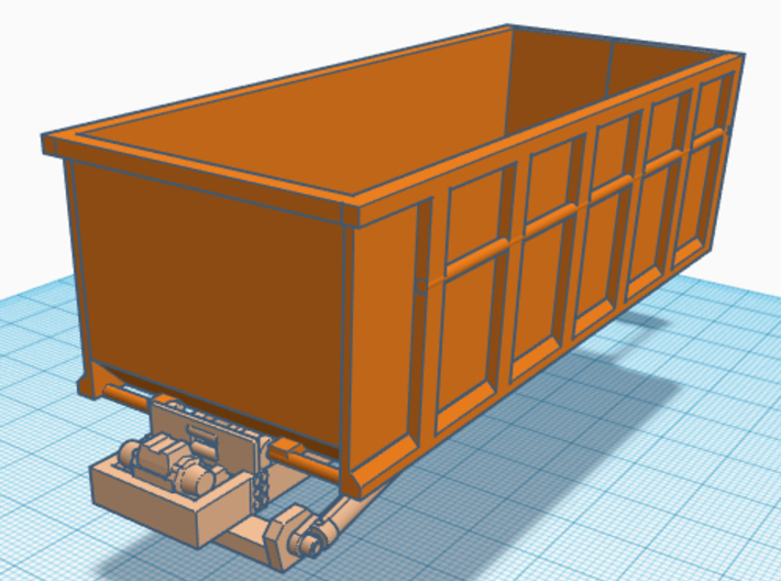 1/50th 10 foot Roll off type Dumpster 3d printed Shown on body, not included