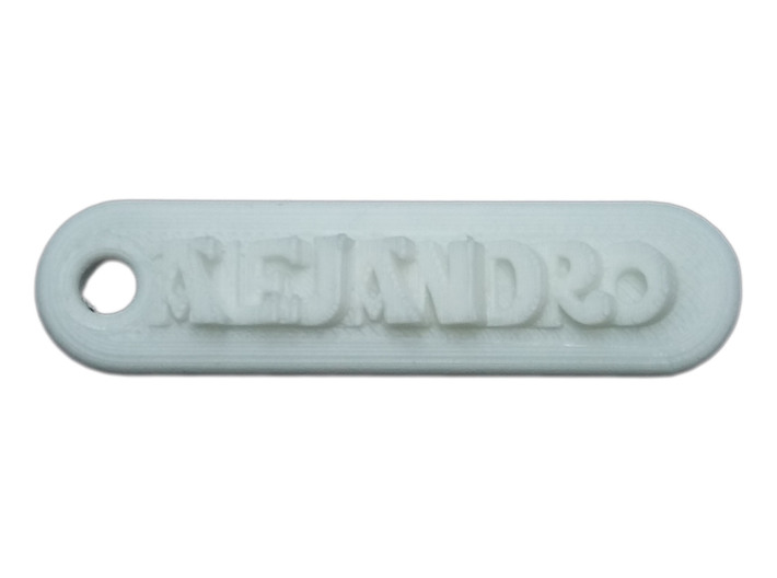 ALEJANDRO Personalized keychain embossed letters 3d printed