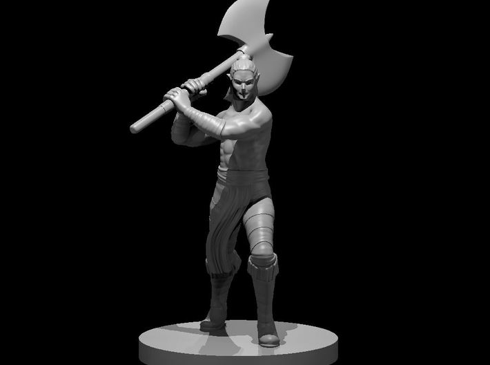 Half Elf Male Barbarian with Great Axe 3d printed