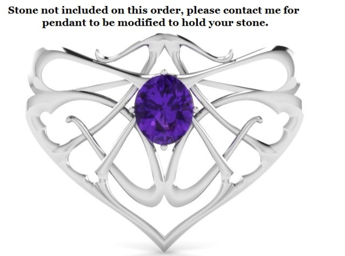 Art Nouveau Inspired Pendant  3d printed No Stones come with this order