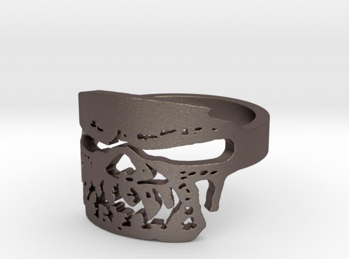 Fallen Angel Biker Skull v2 Ring Size 14 3d printed