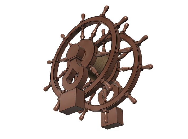 1/96 Wheel and Pedestal for Frigates, Sloops, etc. 3d printed Painting suggestion.