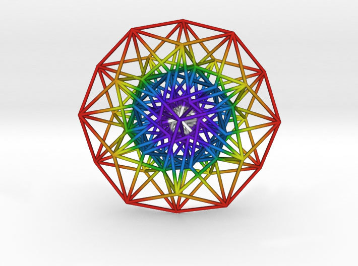 Toroidal 6D Hypercube 200mm diameter Rainbow 3d printed 3D Render showing 12 symmetry