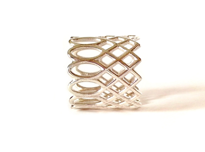 LACE ring 3d printed Polished Silver