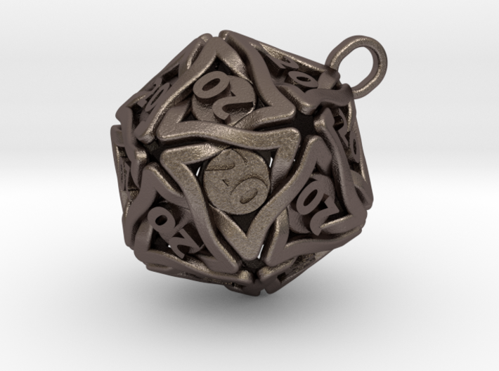 D20 Keychain 'Twined' - All 20's version 3d printed