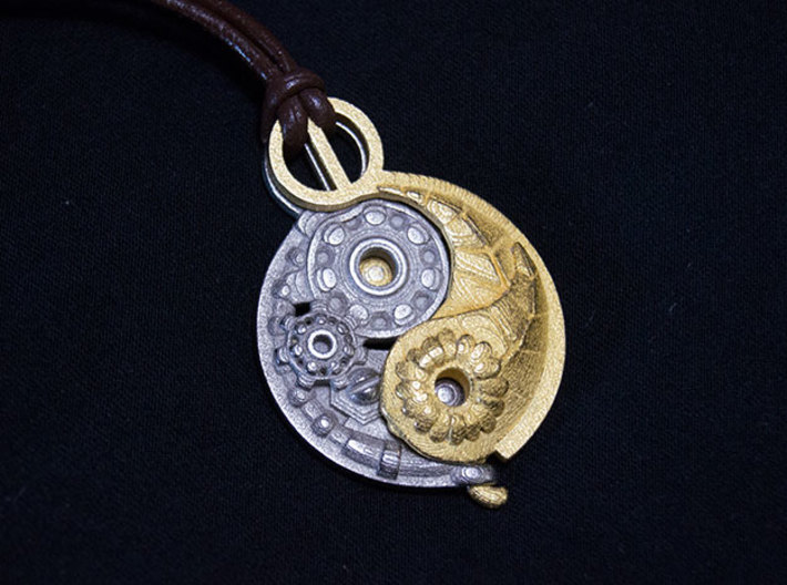 Yang Mechanical LARGE 3d printed Yang mechanical and Ying Nature LARGE pendants together