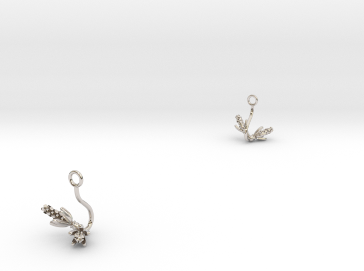 Hyacint earring with two small flowers 3d printed
