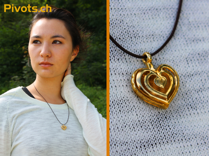 Heart Pendant 'Mylène' 3d printed Model wearing our heart pendant