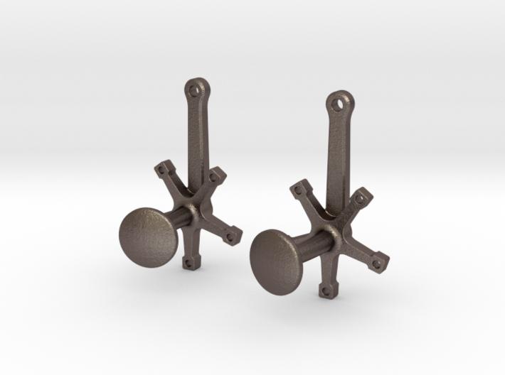 Bicycle Crank Cufflinks 3d printed