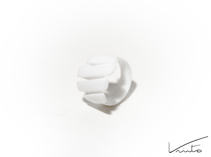Curl ring 4 parallel lines 3d printed White  Strong & Flexible