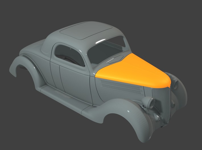 1936 Ford Coupe Hood (1:8 1:12 1:16) 3d printed
