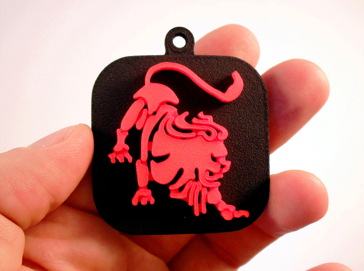"Lion for ""Keychain Zodiac Lion"" (two color) 3d printed Base and Lion printed in black and red polished plastic."