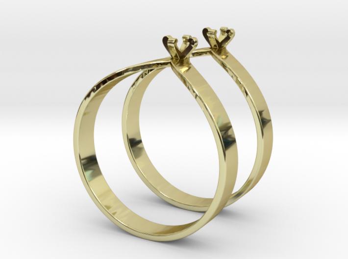 Teardrop Ring Size7 3mm Gem v6 x2 3d printed