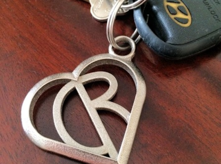 Heart of love keychain [customizable] 3d printed A customer shot with C R initials