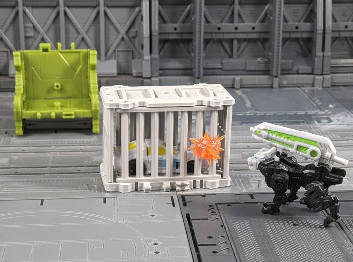 TF Seige Ravage Cage Kit 3d printed Door has a peg for Blast Effect Compatibility