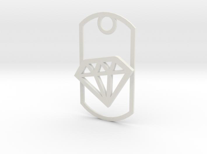 Diamond dog tag 3d printed