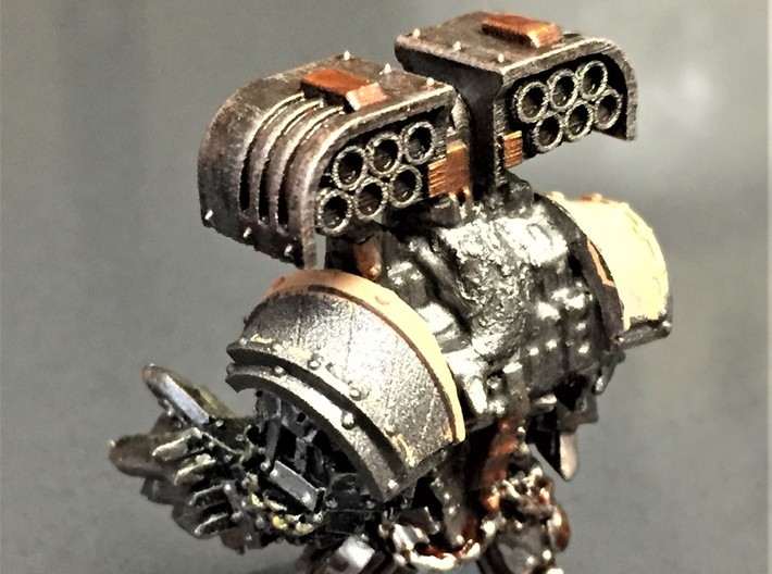 Cyclone Missile Launcher x3 sprue 3d printed finished launcher on old Obliterator back