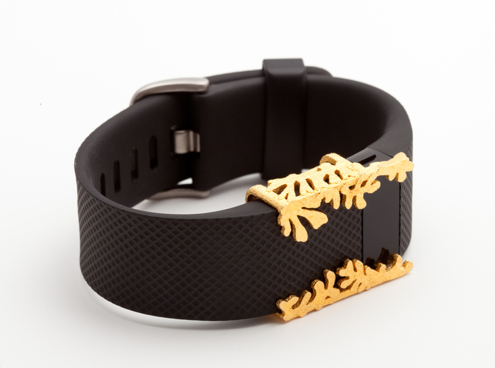 Steel Matisse cuff for Fitbit Charge & HR 3d printed