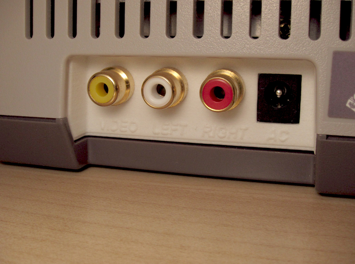 NES Top Loader RCA Rear Panel 3d printed RCA jacks, DC jack, and Amp are not included. NES 2 shown for illustrative purpose only. The console is not part of this sale.