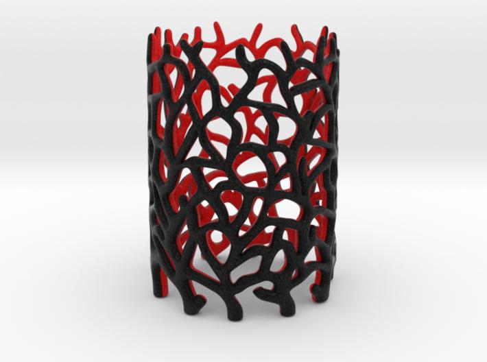 Coraline Tealight Black/Red Sandstone 3d printed