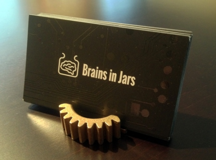 Gear Business Card Holder - Stainless Steel 3d printed