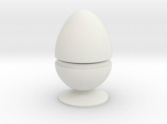 Two part hollow egg shell with foot 3d printed