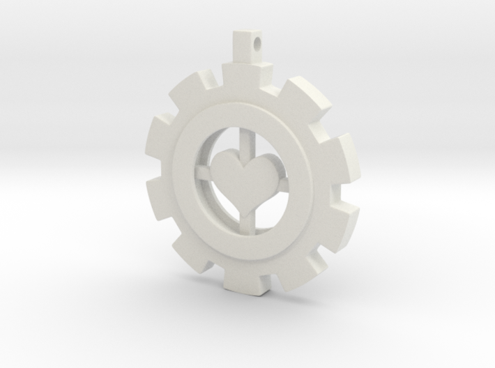 Heart Gear Pendant (small) 3d printed