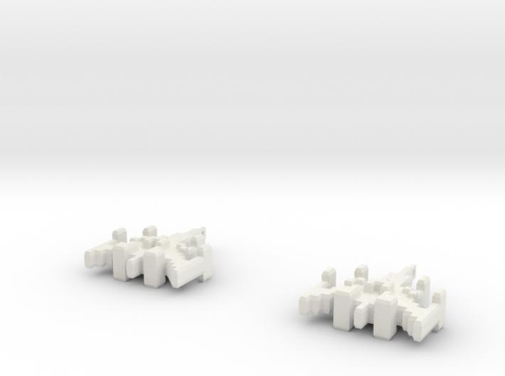 8-bit Ship Earrings 3d printed