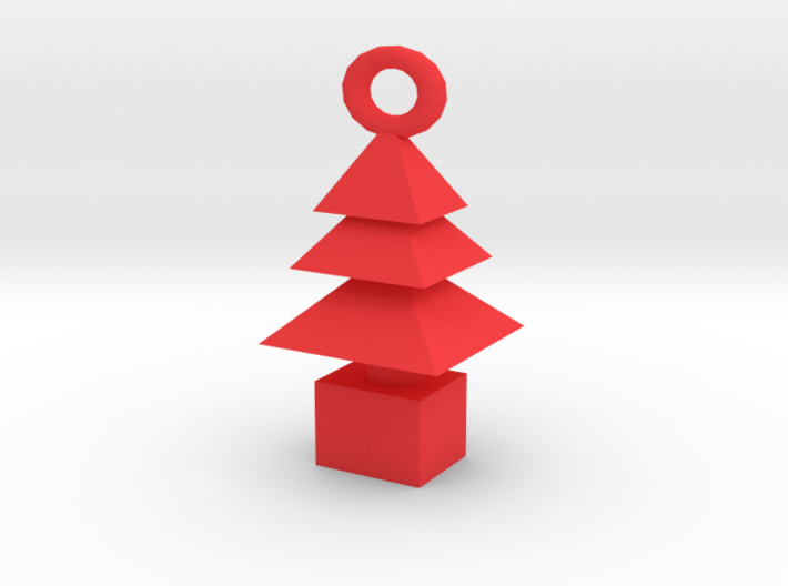 3d Xmas Tree Tree Bracelet Charm red plastic 3d printed