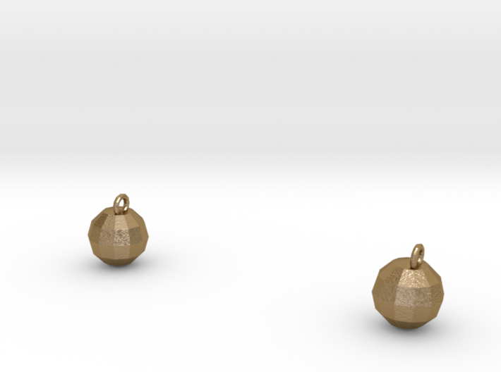 Xmas Ball Earrings gold 3d printed