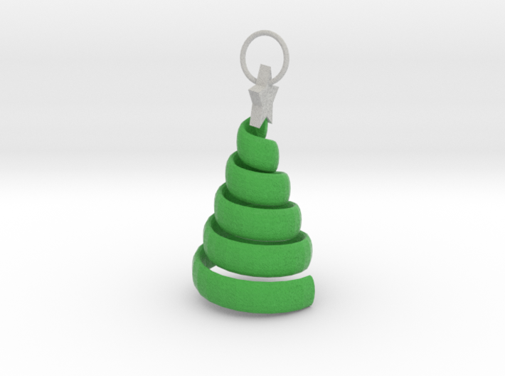 Xmas Swirl Tree Pendant/ keyring/ decoration 3d printed