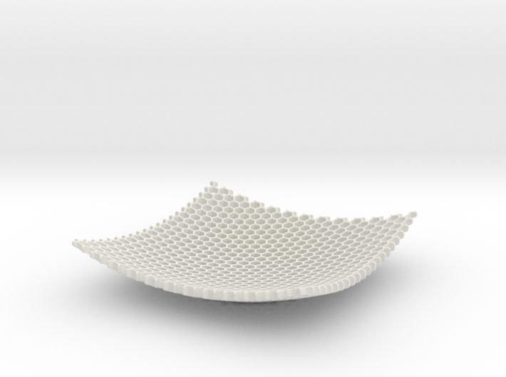 Square Bowl HoneyComb Mesh Structure Fuit bowl Key 3d printed