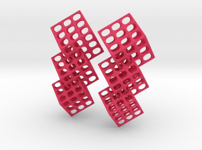 Triple Matrix Earrings 3d printed