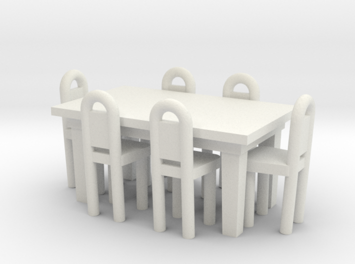 Table And Chairs OO Scale 3d printed