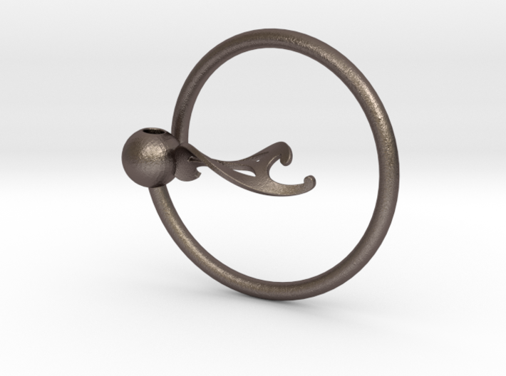 Keyring with Twisted French Curve 3d printed