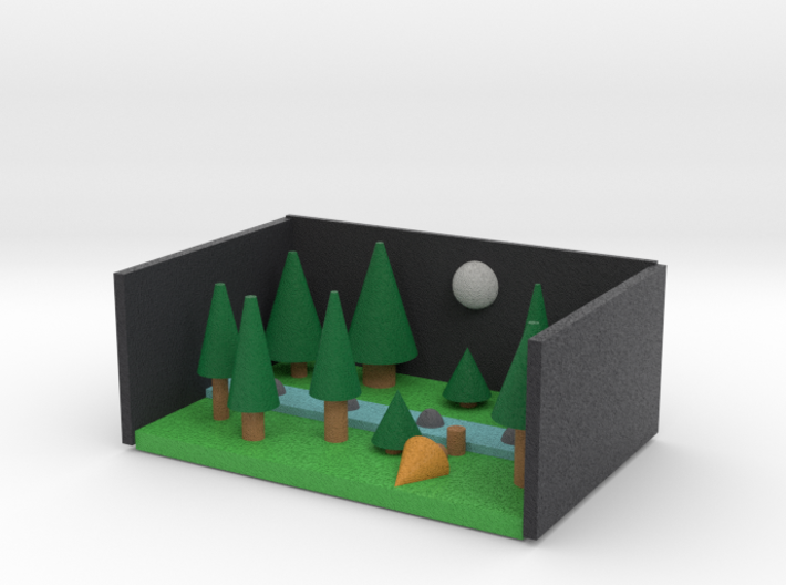 PINE FOREST AT NIGHT NO CLOUDS 3d printed