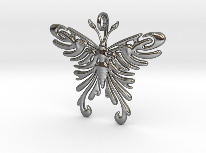 Pendant Tribal Pattern Butterfly 3d printed