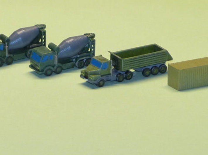Construction Site Trucks 1 Z-Scale 1/220 3d printed Different Container included