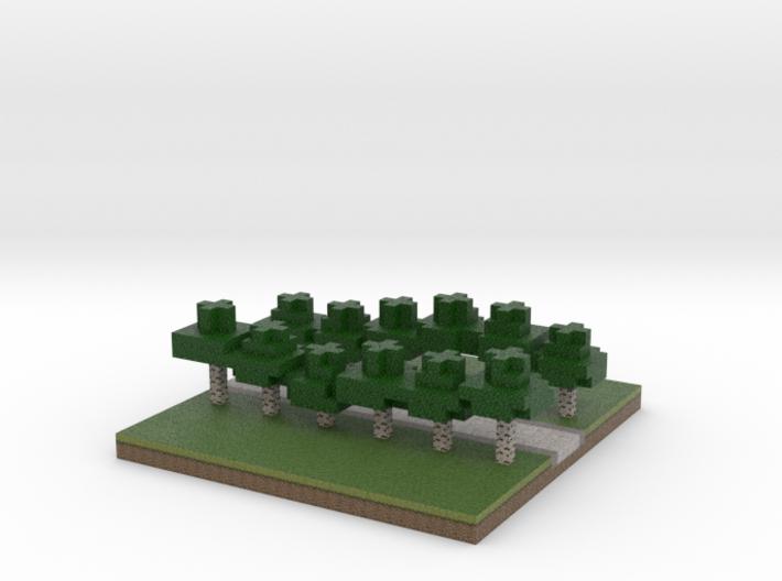 30x30 straight path (white trees) (1mm series) 3d printed