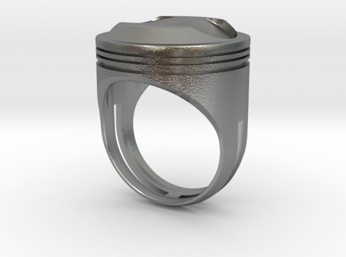Piston Head Ring 3d printed This material is Polished Silver , Patinated with bleach