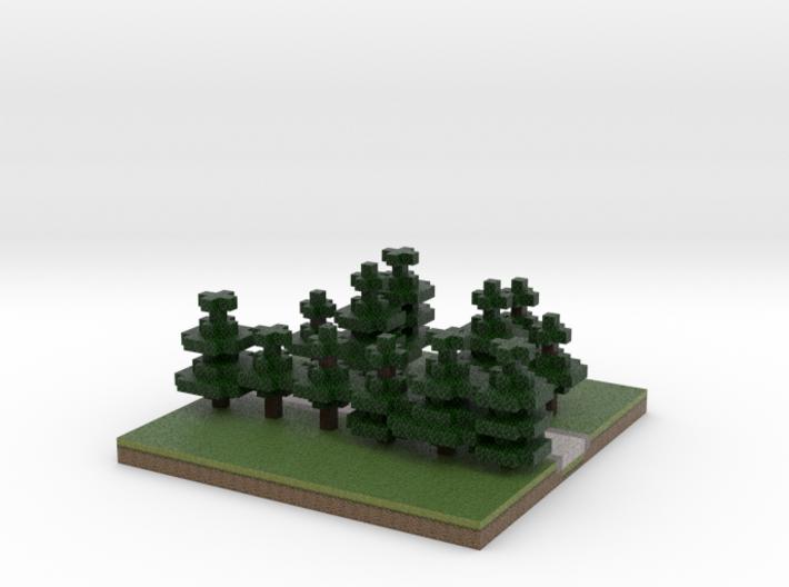 30x30 T path (pine trees) (1mm series) 3d printed