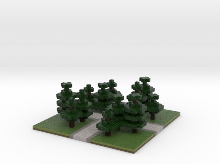 60x60 cross path (Pine trees) (2mm series) 3d printed
