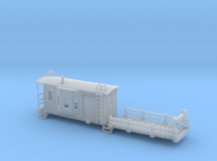 Bay Window Caboose Flat Car HO Scale 3d printed