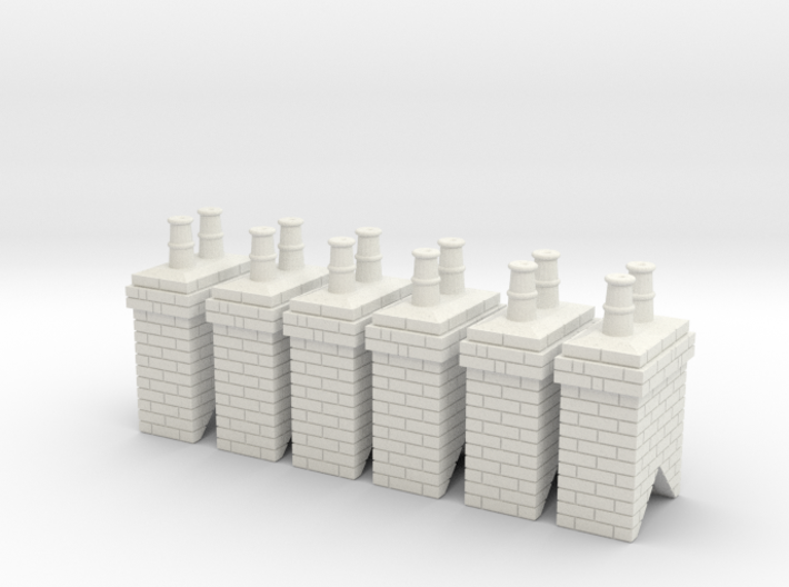 Chimney Stack - Small Type 1 X 6 - OO Scale 3d printed