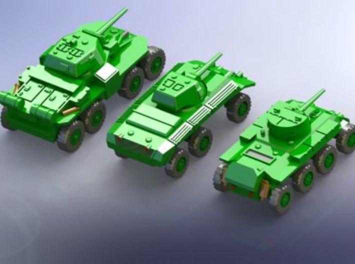 Heavy Armored Cars T13, T17, T18 1/285 6mm 3d printed Add a caption...
