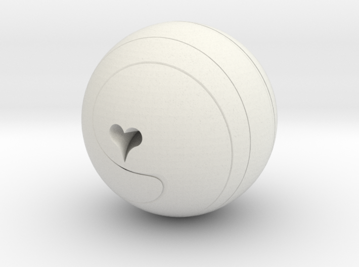 Helix Sphere with heart motif 3d printed