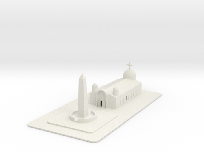 1/700 Town Square And Church 3d printed