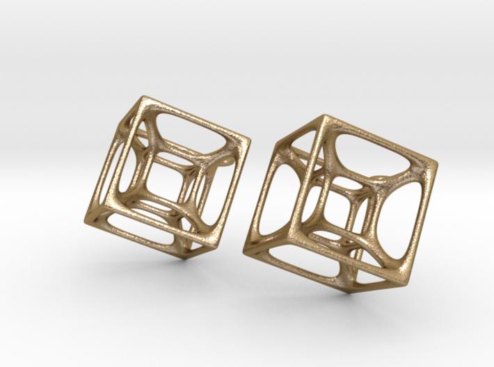 Hypercube Earrings 3d printed
