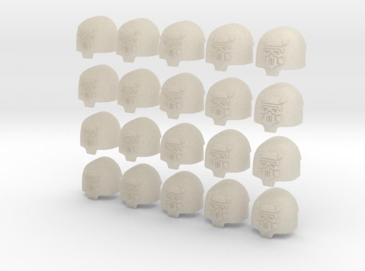 20 28mm Custom Large Shoulder Pad Skull Cap Arrows 3d printed